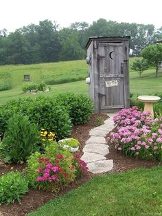 Small garden shed to look like outhouse. Although I just like the idea of landscaping to an actual outhouse. Garden Junk, Garden Yard Ideas, Lawn And Garden, Garden Projects, Diy Projects, Garden Tools, Box Garden, Garden Container, Garden Paths