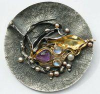 Brooch - silver, 18k, amethyst, pearls, moonstones, diamonds