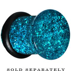 0 Gauge Blue Acrylic Ultra Glitter Plug #bodycandy #plugs #glitter $2.99