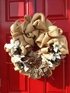 Burlap wreath with a 'wild' poinsettia.