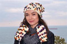 Beanie Set Clouchy Set Hat and Mittens White Set Winter