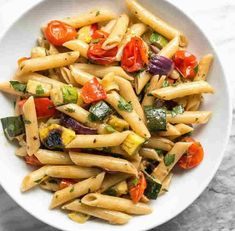 This classic summer Grilled Vegetable Pasta Salad features smoky fire licked vegetables and a homemade creamy balsamic vinaigrette. Grilled Vegetables, Veggies, Creamy Balsamic Vinaigrette, Balsamic Dressing, Vegetable Pasta Salads, Vegetarian Recipes, Healthy Recipes, Tasty Dishes, Salad Recipes