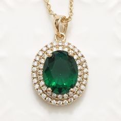 Gorgeous Green Emerald Diamond Halo Pendant Chain Necklace 14K Yellow Gold A136 #Unbranded #Pendant
