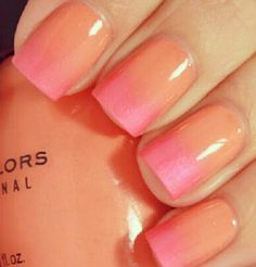 Spring nails wirh Sinful Colors polish - Orange Cream and Cotton Candy