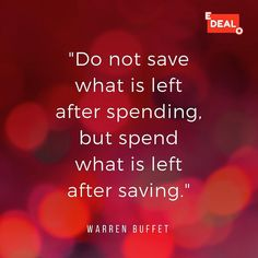 Inspiring quote about money saving & spending. by Warren Buffet. One of our EDEALO core beliefs.    www.edealo.com