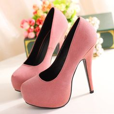 Woman Romantic Suede Pink Platform Pumps