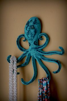 Cast Iron Octopus Hook  - Jewelry Holder - Key Holder - Blue/Green Patina