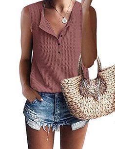 $19.99 XL RED RUST MOLERANI Womens Waffle Knit Tunic Tops V Neck Henley Tank Tops Sleeveless Button Up Shirts MOLERANI