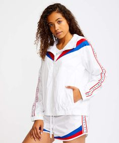 Give your wardrobe a comfy warm up with this striped windbreaker to define your athleisure style. Red Tape, Womens Windbreaker, Athleisure Fashion, Tommy Hilfiger, High Point, Comfy, Warm, Shoulder, Style