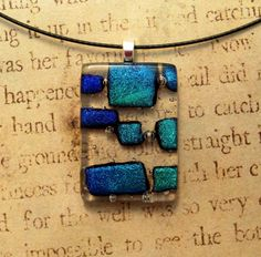Clearly Blue Elongated Fused Glass Pendant.