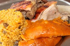 Pasteles de yuca, pernil, arroz con gandules - Puerto Rico food. #xmasinpr