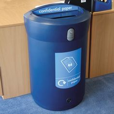 The Envoy™ Confidential Paper Recycling Bin is ideal for offices, large businesses and education as it provides a safe way of disposing confidential waste. #GlasdonUK #Recycling #Bin #Secure #WRAP #Defra #Recycle #RecyclingBins