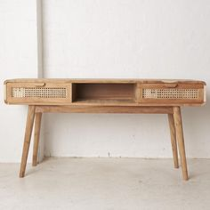 Shey Rattan and Teak Console - A raw aesthetic for furniture pieces that are naturally beautiful. Each piece is handcrafted and embraces the natural grain & texture of the wood. Console Furniture, Teak Furniture, Grain Texture, T Home, Naturally Beautiful, Country Life, Rattan, Entryway Tables, Beach House