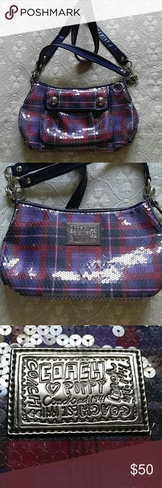 COACH POPPY Purple/Red Tartan, convertible. Like new, no wear. Coach Bags Crossbody Bags