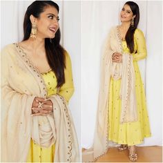 Kajol mesmerises fans with yet another traditional look as she promotes her upcoming movie in full swing - HungryBoo Bridal Anarkali Suits, Anarkali Frock, Designer Anarkali Dresses, Designer Silk Sarees, Dress Indian Style, Indian Wear, Indian Outfits, Muslim Fashion, Indian Fashion