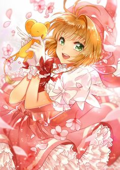 The protagonist, Sakura Kinomoto discovers a book of beautiful cards in her father's study. Anime Sakura, M Anime, I Love Anime, Kawaii Anime, Sakura Sakura, Kawaii Girl, Anime Girls, Cardcaptor Sakura, Syaoran