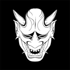oni mask vector black and white Japanese Demon Tattoo, Japanese Demon Mask, Japanese Dragon, Oni Tattoo, Hanya Mask Tattoo, Samurai Tattoo, Tattoo Art, Tattoo Drawings, Body Art Tattoos