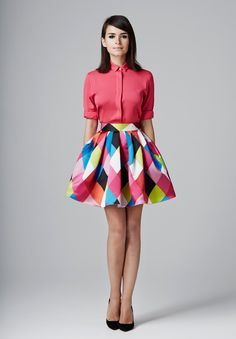 Geometric Skirt + Pink Shirt
