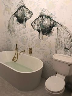 Scaled to fit and made on demand design wallpaper CATCH OF THE DAY by Behangfabriek Inspiration Wand, Bathroom Inspiration, Wall Design, House Design, Mural Wall Art, Interior Decorating, Interior Design, Beautiful Bathrooms, Bathroom Interior