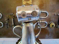 Abby Pot Bot - found object robot sculpture assemblage. $125.00, via Etsy.