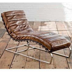 Regina Andrew Vintage Brown Leather Lounge Chaise