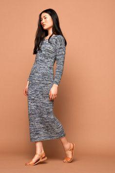 long knit dress, marbeled, light grey