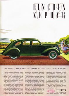 Lincoln Zephyr V12, 1936 Scanned from Time magazine, June 15, 1936 issue.