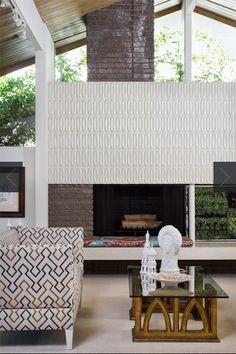Modern Fireplace - Heath ceramic tile around fireplace