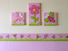 Resultado de imagen para cuartos para niña bebe Baby Decor, Kids Decor, Home Decor, Diy Canvas, Canvas Frame, Handmade Crafts, Diy And Crafts, Dragonfly Wall Art, Baby Wall Art