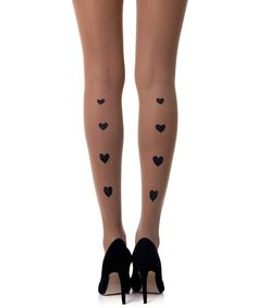 Show a romantic style with heart sheer tights by Zohara. These classic Skin Color tights, feature Black Hearts pattern vertically along the back of the legs Sheer Socks, Sheer Tights, Tattoo Tights, Black Dream Catcher, Footless Tights, Love Fashion, Womens Fashion, Fashion Trends, Tatoo