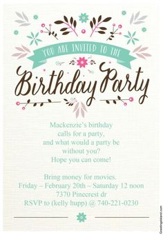 Flat Floral Free Printable Birthday Invitation Template - Childrens party invites templates