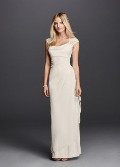 Wedding Dress Photos - Find the perfect wedding dress pictures and wedding gown photos at WeddingWire. Browse through thousands of photos of wedding dresses. Chiffon Dress Long, Lace Dress With Sleeves, Lace Sheath Dress, Mesh Dress, Cap Sleeves, Fluffy Wedding Dress, Perfect Wedding Dress, Lace Party Dresses, Lace Bridesmaid Dresses