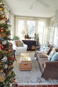 A Winter Woodland theme for Christmas in the Sunroom