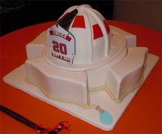 fireman wedding or grooms cake Themed Wedding Cakes, Wedding Cakes With Cupcakes, Themed Cakes, Cupcake Cakes, Firefighter Grooms Cake, Fireman Cake, Fireman Party, Fireman Wedding, Firefighter Wedding