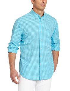 IZOD Men's Long Sleeve Check Button Down Shirt, « Impulse Clothes