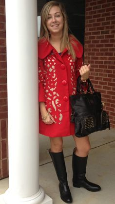 Maggie modeling a pair of our new Frye Boots, new Frye Handbag, and new red coat! Now available at Emma Laura-Graceful Gold located in Ivy Place 2032B Veterans Blvd. Dublin, GA 31021 478-272-2095 www.emmalaura.com Check us out on Facebook at https://www.facebook.com/pages/GRACEFUL-GOLD-JEWELRY-CO/163839008625