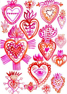 Sending plenty of love to mexico and puerto rico today and our sincerest sympathies to all those who have lost precious memories property and most dearly loved ones in what has been one of the most intense hurricane seasons in history if you have plans to Painting Inspiration, Art Inspo, Arte Latina, Sketchbook Challenge, Pattern Texture, Heart Illustration, Mexican Designs, Mexican Folk Art, Sacred Heart
