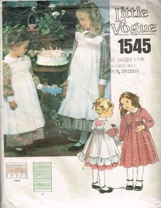 Girls Dress and Smocked Pinafore Pattern Vogue 1545 Size 3 Toddler Dress in Two Lengths With Collar Uncut Vintage Sewing Pattern Vintage Kids Fashion, Vintage Children Photos, Girly Girl Outfits, Kids Outfits, Old Dresses, Girls Dresses, Pinafore Pattern, Childrens Sewing Patterns, Contrast Collar