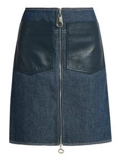 EDUN Patch-pocket denim skirt