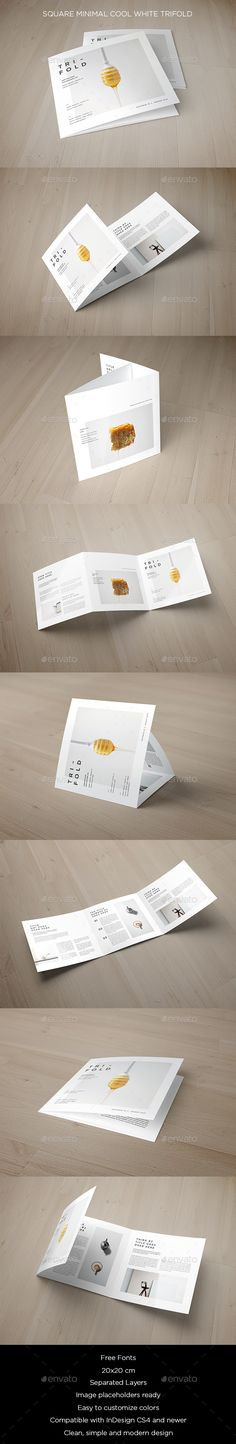 Square Minimal Cool White Trifold Brochure Template InDesign INDD. Download here: https://graphicriver.net/item/square-minimal-cool-white-trifold/17573352?ref=ksioks