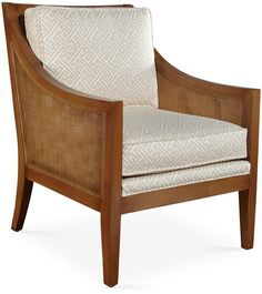 This classic swoop-arm design is given a fresh, modern makeover with an exposed cane frame and a lively maze print. Filled with foam wrapped in feather and down-proof ticking, it strikes the perfect balance of style and comfort. Handmade in the USA. Furniture > Chairs > Accent & Occasional Chairs.