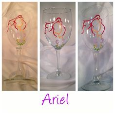 Princess Collection Ariel Hand Painted Wine Glass by VitaDelVino