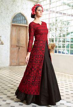 #Semi #Stitched Red #Achkan #Style #Salwar #Kameez #nikvik  #usa #designer #australia #canada #freeshipping #salwaronsale #sale