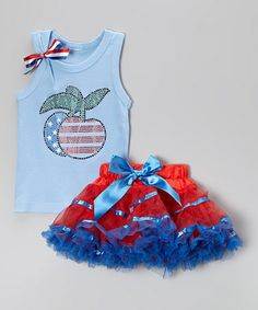 Loving this Blue Flag Cherry Tank & Red Pettiskirt - Infant, Toddler & Girls on #zulily! #zulilyfinds