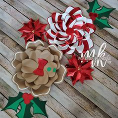 Paper Flowers Craft, Giant Paper Flowers, Flower Crafts, Diy Flowers, Disney Christmas Decorations, Christmas Paper Crafts, Forever Flowers, Paper Bouquet, Flower Template