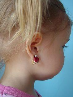 Lady bug ear clips polymer
