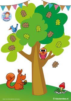 Eikelspel voor kleuters, spelbord, thema herfst, by juf Petra van kleuteridee, Preschool acorn game, gameboard, free printable.