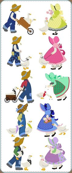 Sunbonnet Sue Printable Pattern | SUNBONNET SUE QUILT BLOCKS AND EMBROIDERY DESIGNS