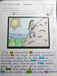 Descripción de una foto: A fun creative writing/drawing activity (descripciones) (ser/estar) (el presente) - Free PDF worksheet and activity description on website http://www.estudiafeliz.com