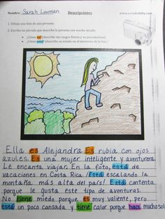 Descripción de una foto: A fun creative writing/drawing activity (descripciones) (ser/estar) (el presente) - Free PDF worksheet and activity description on website http://www.estudiafeliz.com